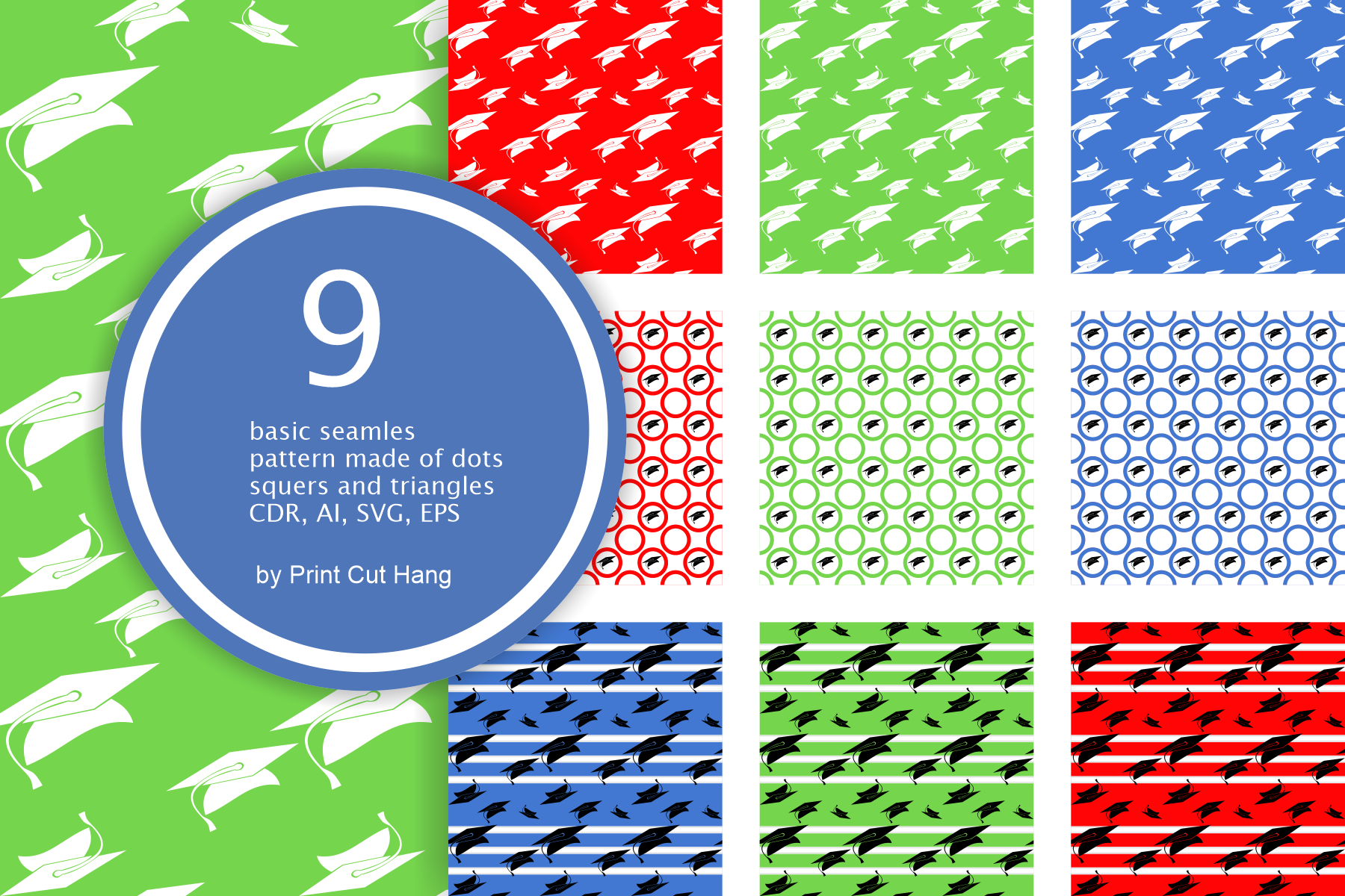 Graduation Seamless Patterns - Vector files - Background example image 2