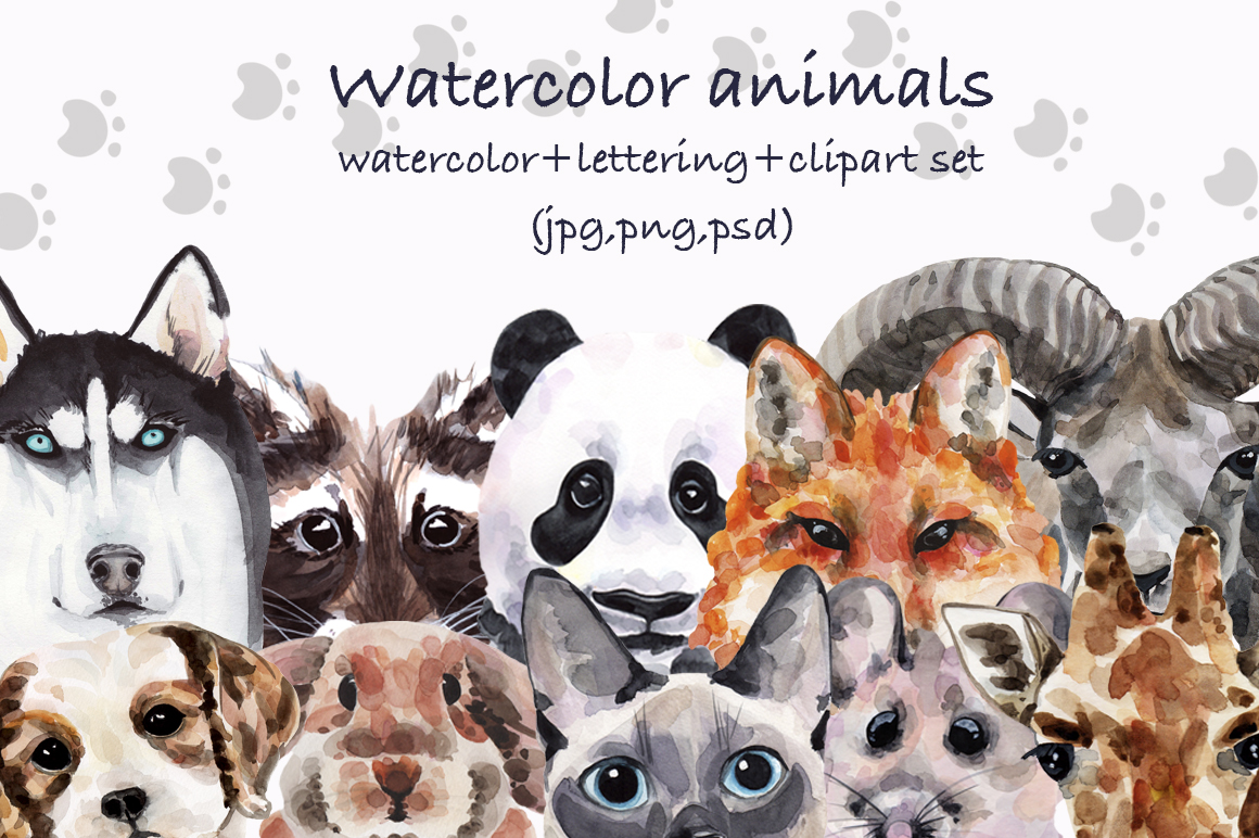 Watercolor animals collection example image 1