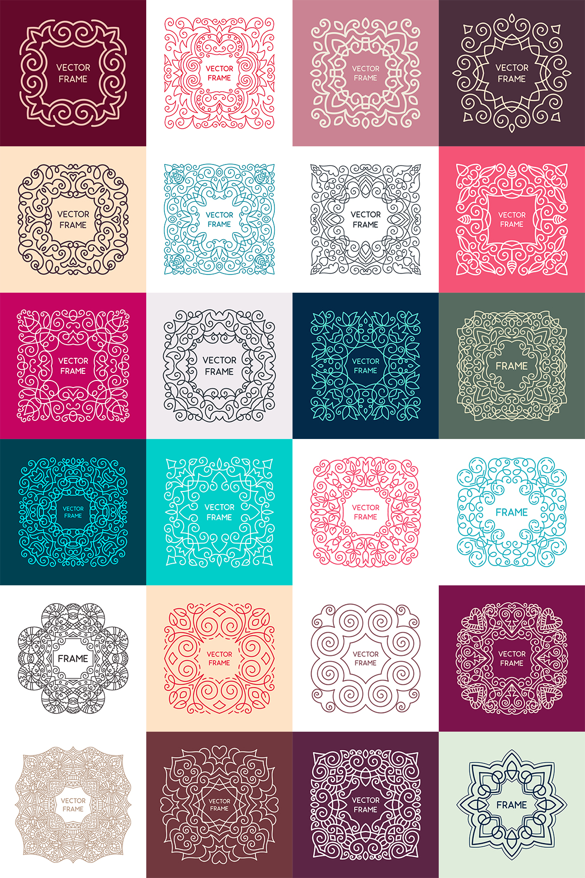 24 Vintage Vector Frames Collection example image 2