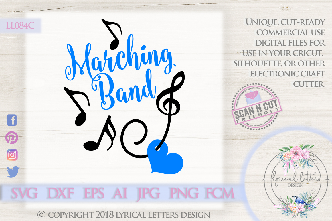 Marching Band with Treble Clef and Music Notes SVG LL084C example image 1