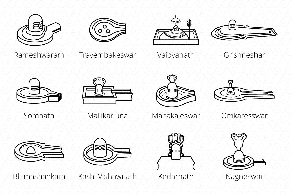 12 Jyotirilingas Jyotirilingam Vector Graphic Set of 24 example image 3