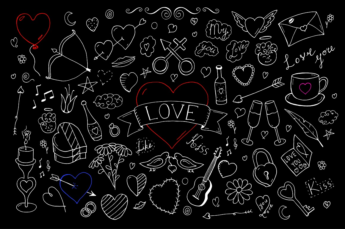 Valentine's day elements + pattern. example image 4