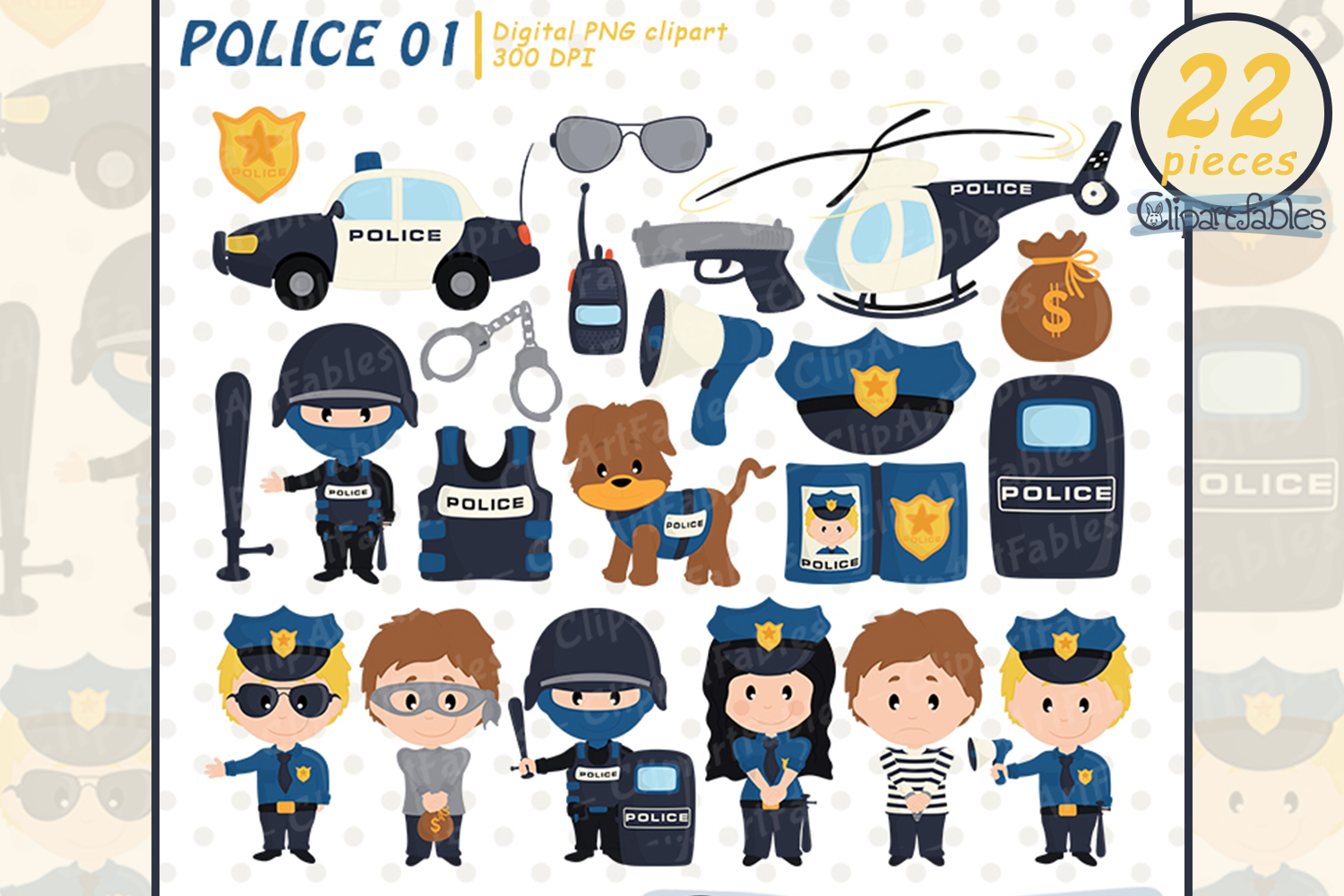 POLICE clipart, Cute policeman and bandit - INSTANT download example image 1