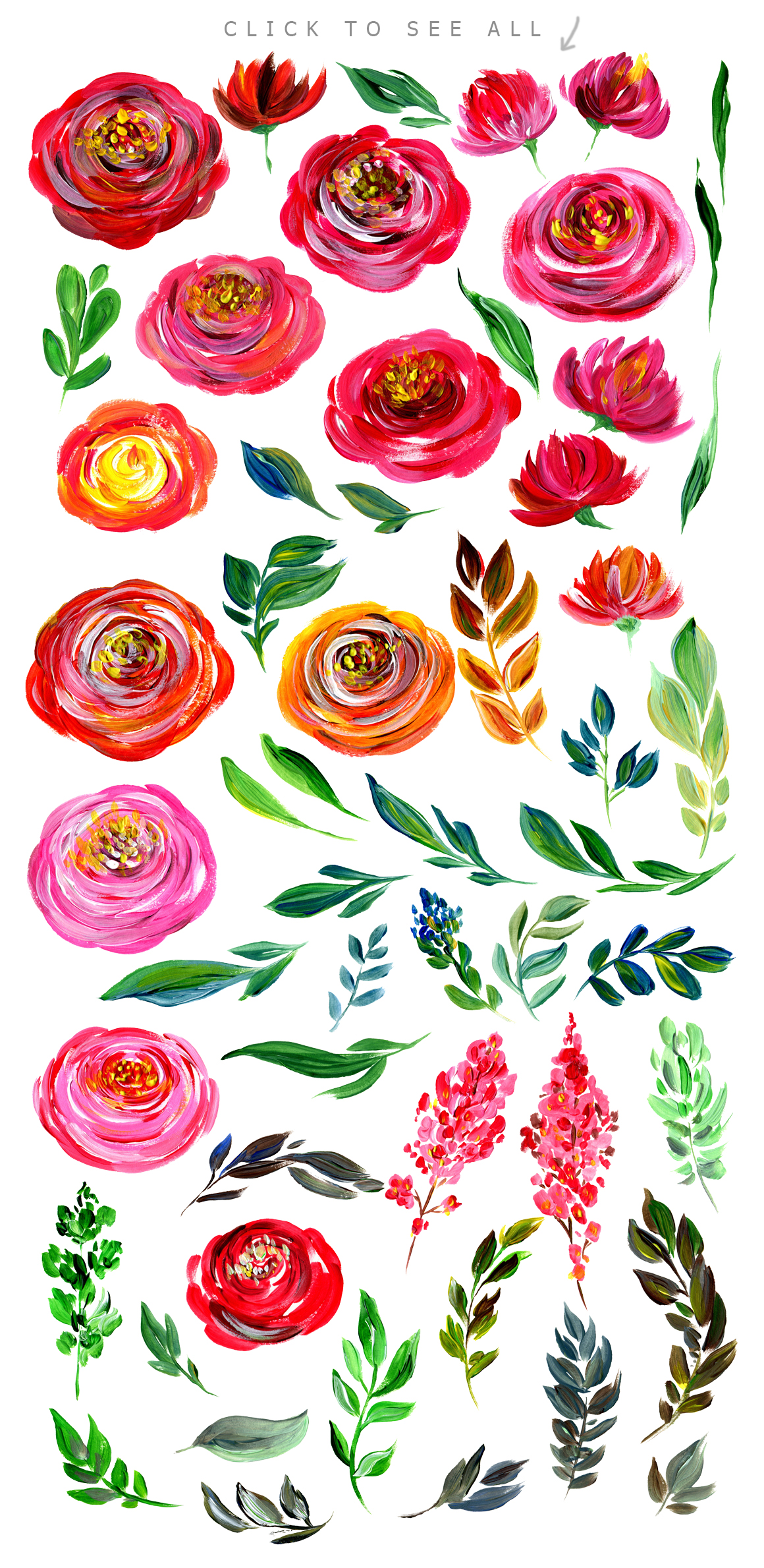Acrylic watercolor floral set example image 2