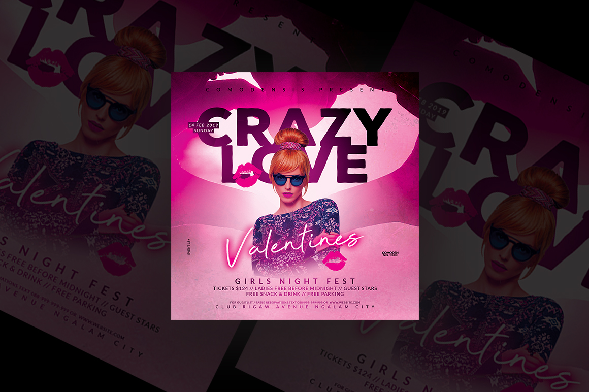 Crazy Love Night Party Flyer example image 1