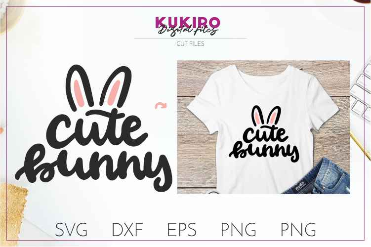 Cute Bunny SVG - Easter cut file SVG DXF EPS PNG JPG example image 1