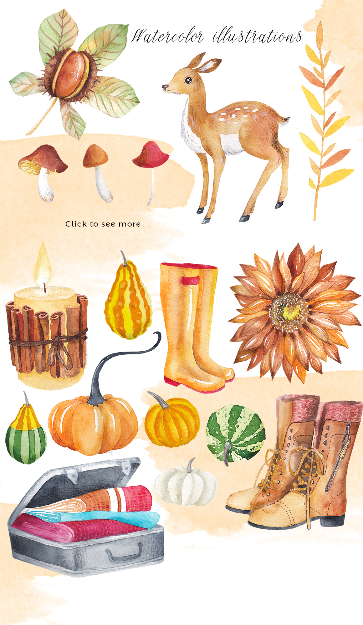 Autumn days - mood watercolor bundle example image 3