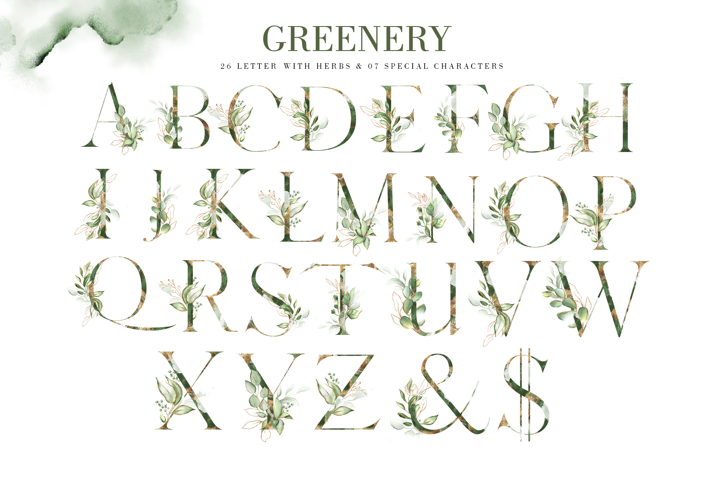 Greenery. Watercolor Elements| Letters gold with flowers example image 3