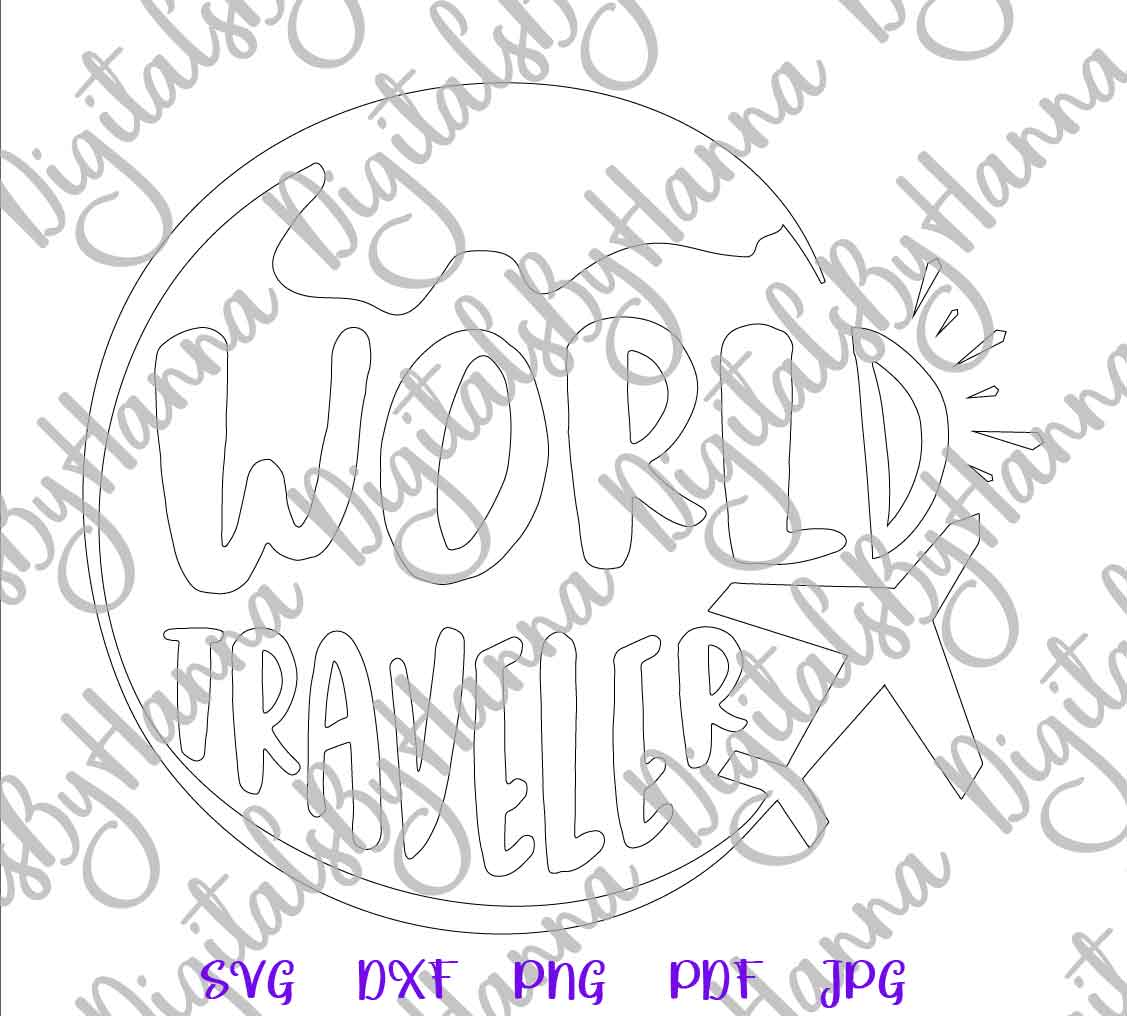World Traveler Sign Print & Cut PNG SVG DXF PDF JPG Files example image 7