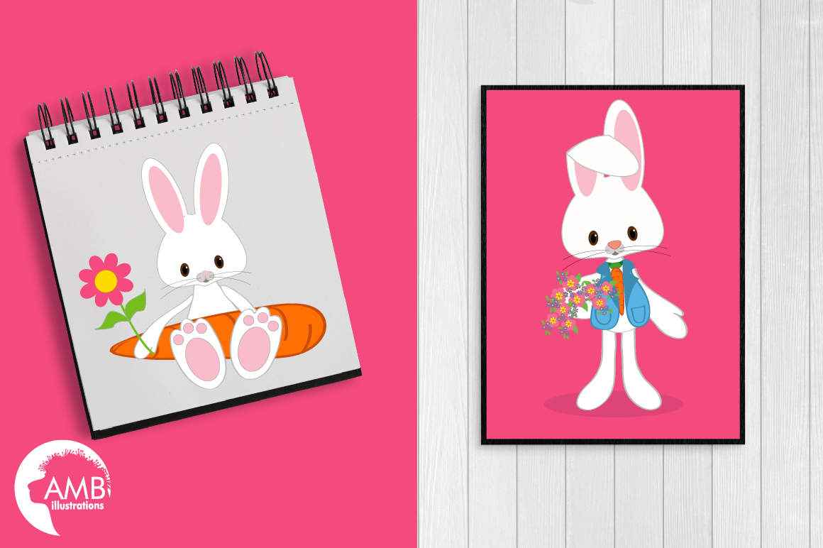 Easter Bunnies clipart, graphics, illustrations AMB-370 example image 2