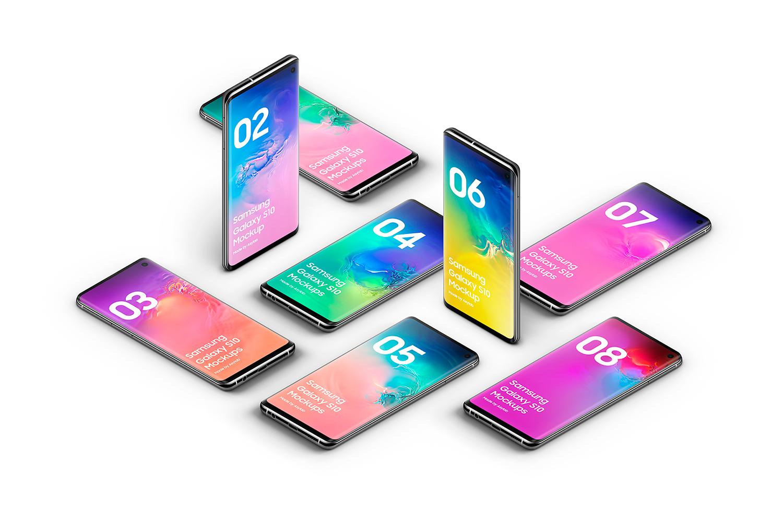 Samsung Galaxy S10 - 21 Mockups - 5K - PSD example image 30