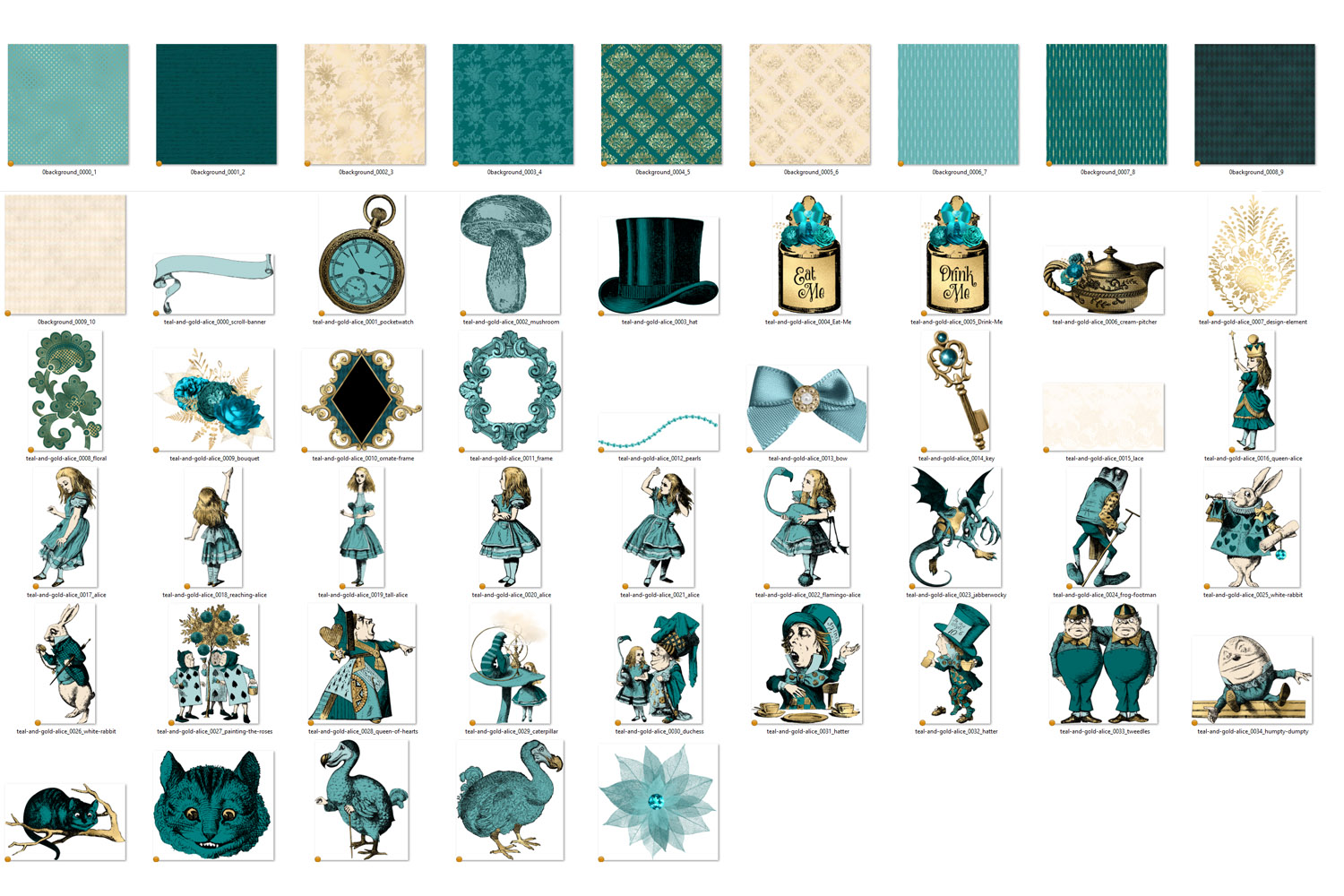 Teal and Gold Alice in Wonderland Graphics example image 4