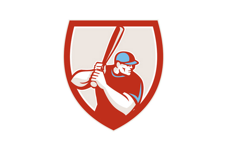 Baseball Player Batter Hitter Shield Retro example image 1