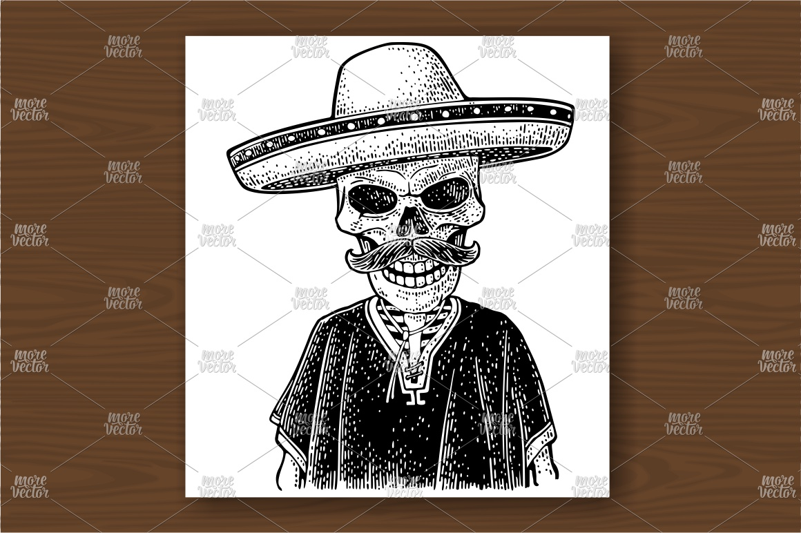 Skeleton dressed in the poncho, sombrero. Vector engraving example image 1