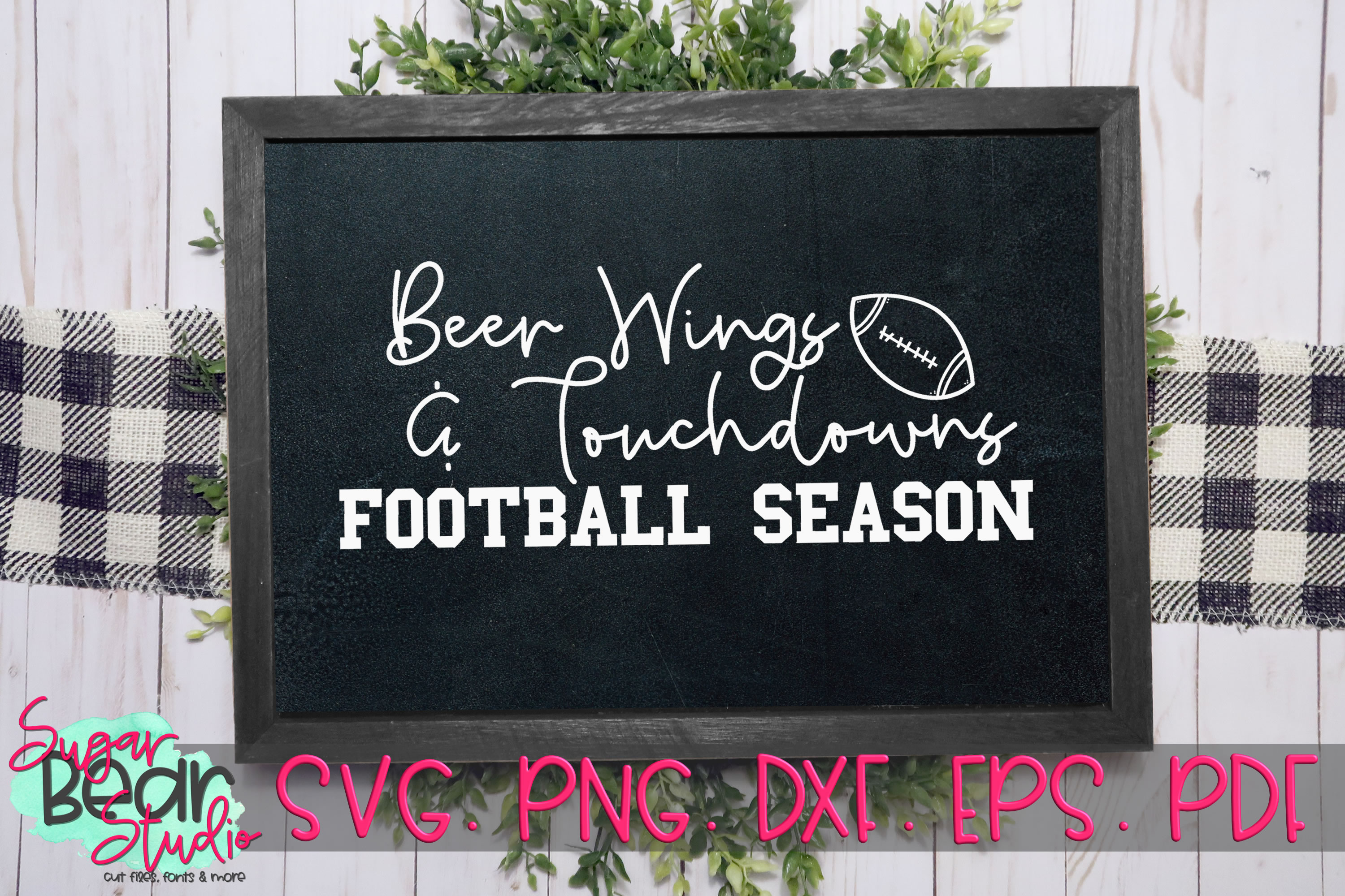 Beer Wings & Touchdowns Football Season - A Football SVG example image 2