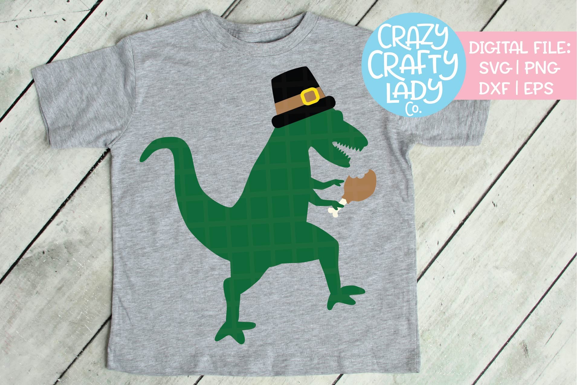 Thanksgiving Dinosaur SVG DXF EPS PNG Cut File example image 1