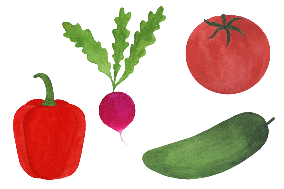 Watercolor vegetables collection example image 3