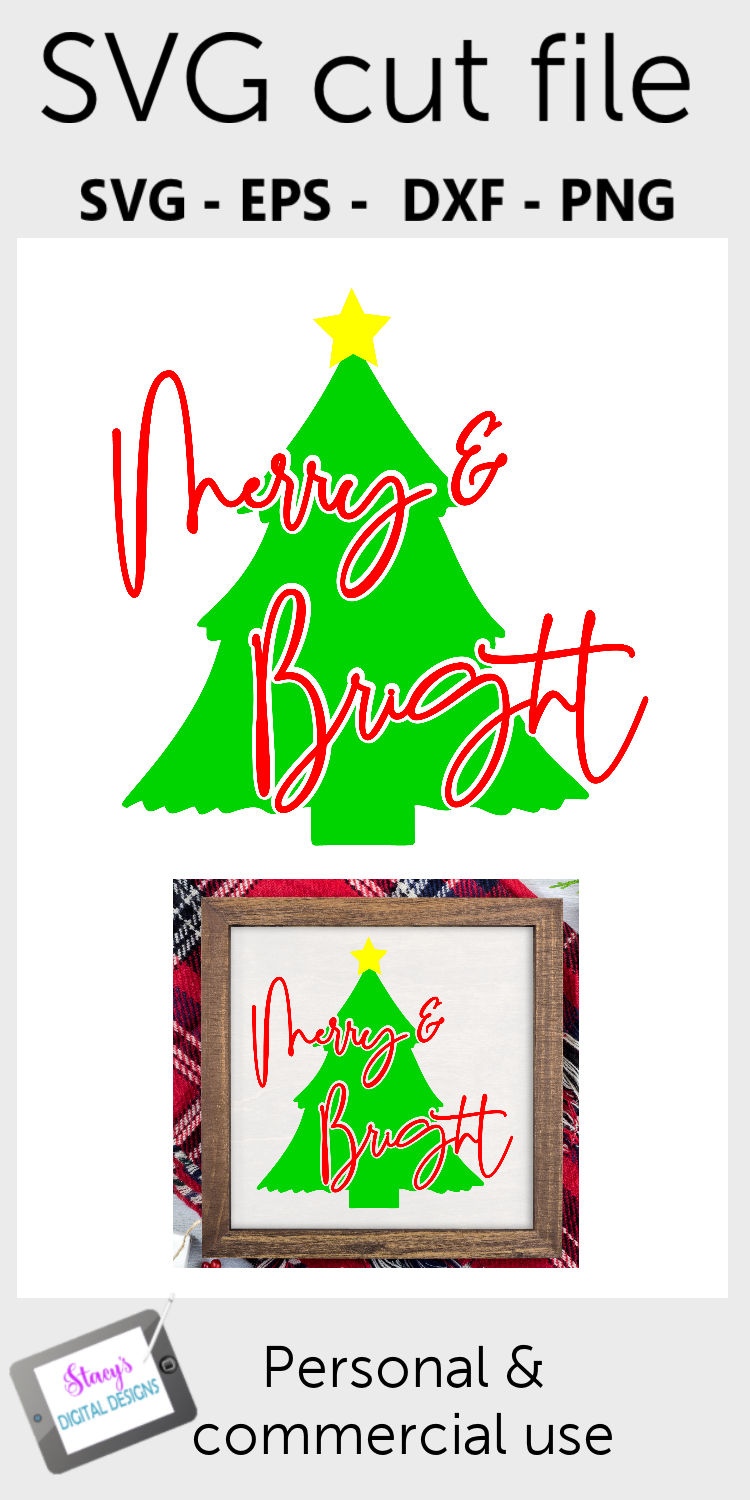 Christmas SVG - Merry and Bright SVG with Christmas Tree example image 2