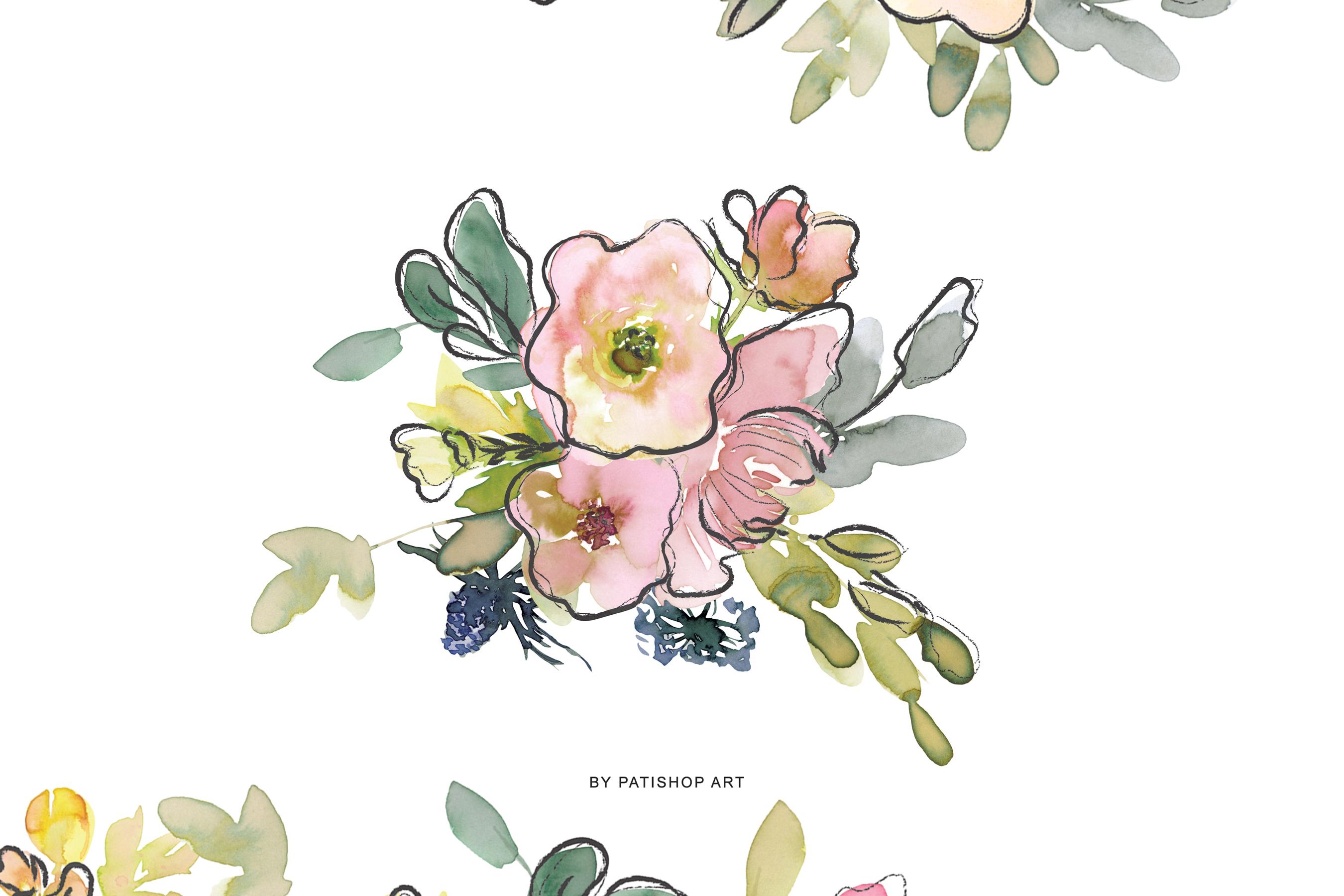 Watercolor Blush and Lemon Colors Floral Arrangements example image 4