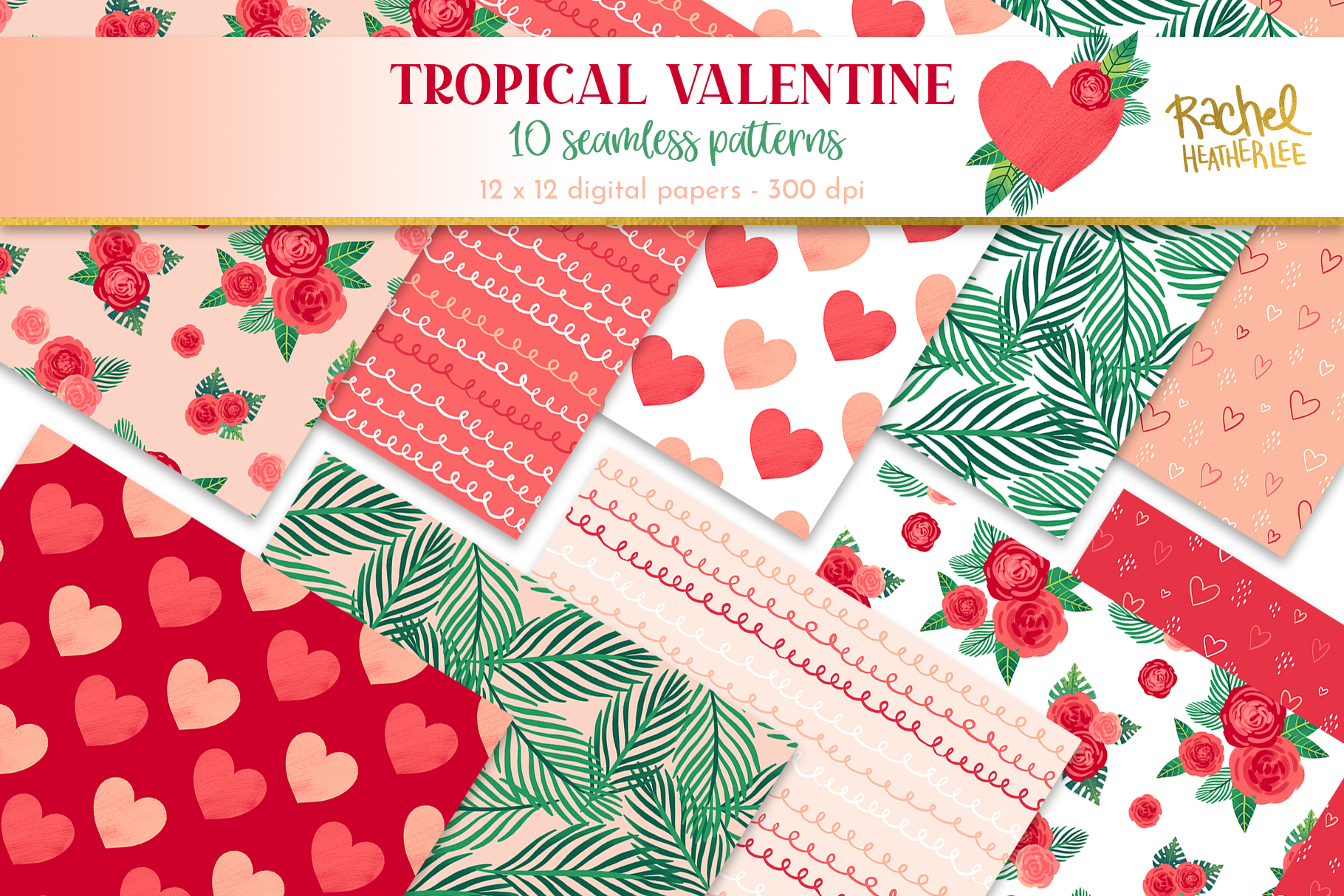 Tropical Valentine Clipart & Patterns example image 2