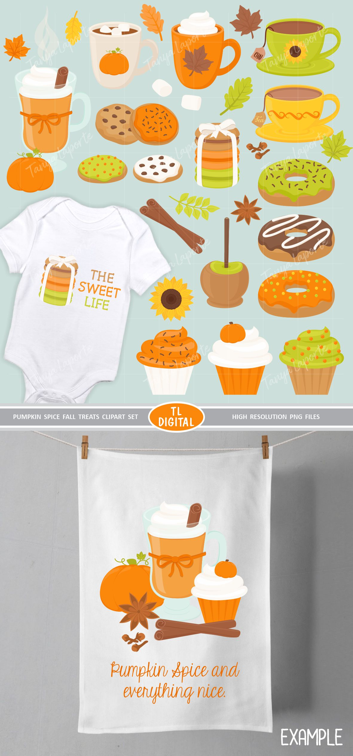 Pumpkin Spice Fall Treats Clipart - 32 PNG Graphics example image 3