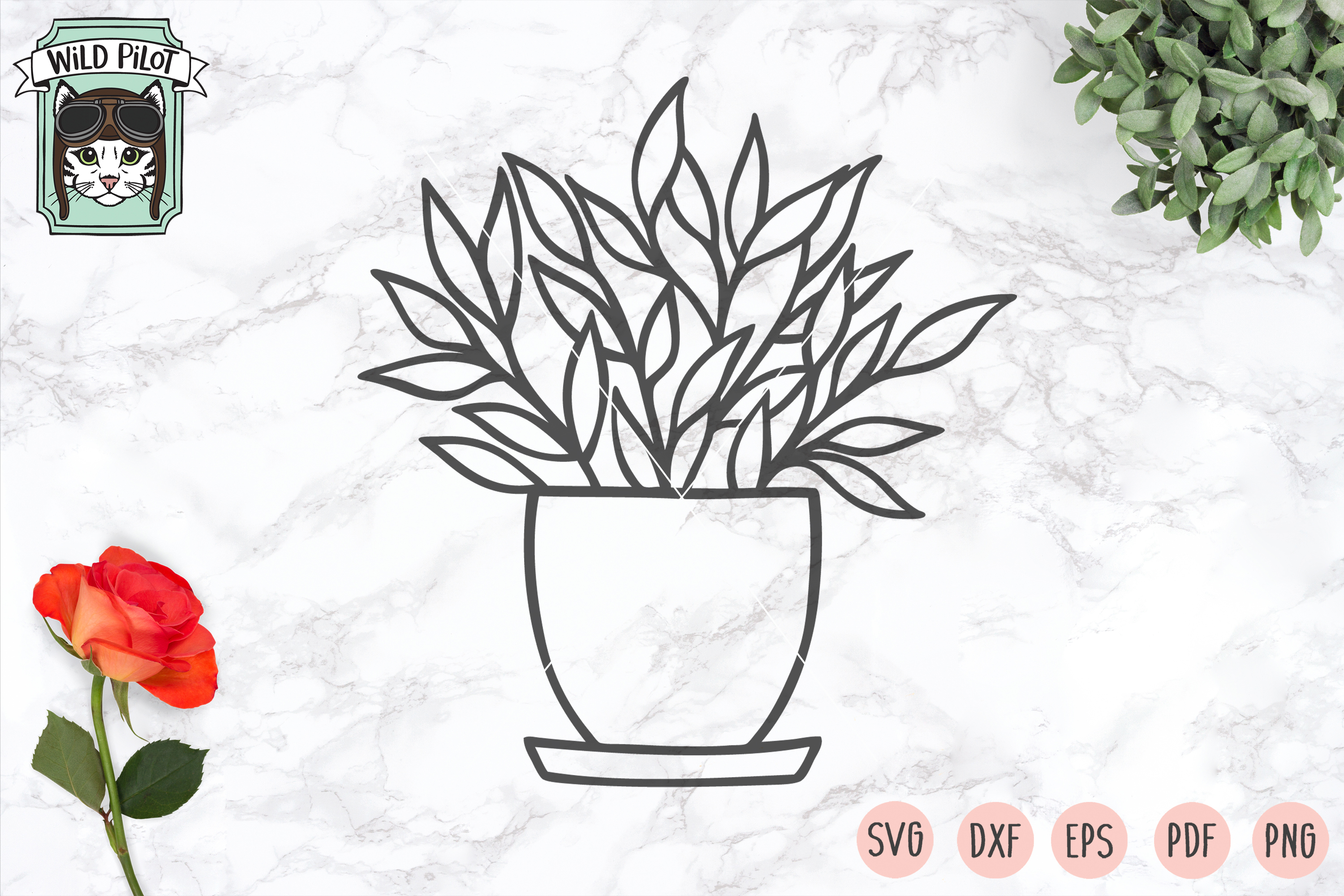 Plants SVG files, Potted Plants cut files, Planters, Garden example image 2