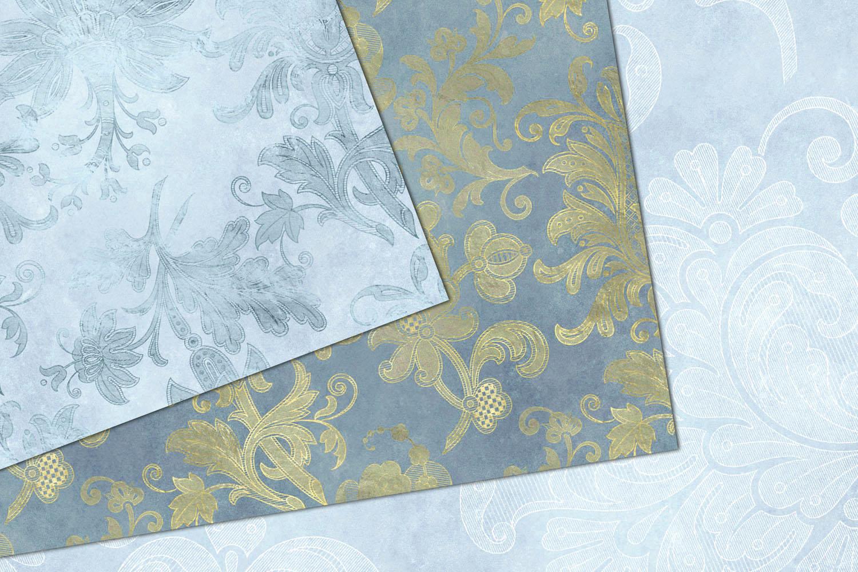 Blue Floral Velvet Digital Paper example image 3
