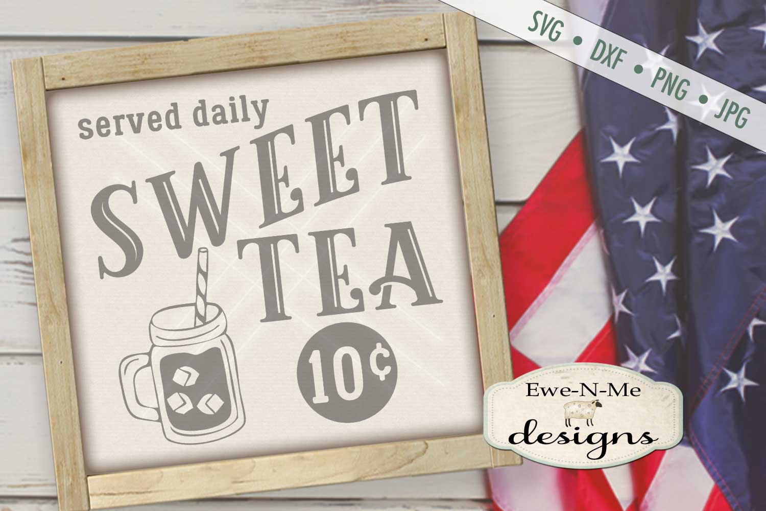 Sweet Tea Served Daily SVG DXF Files example image 1