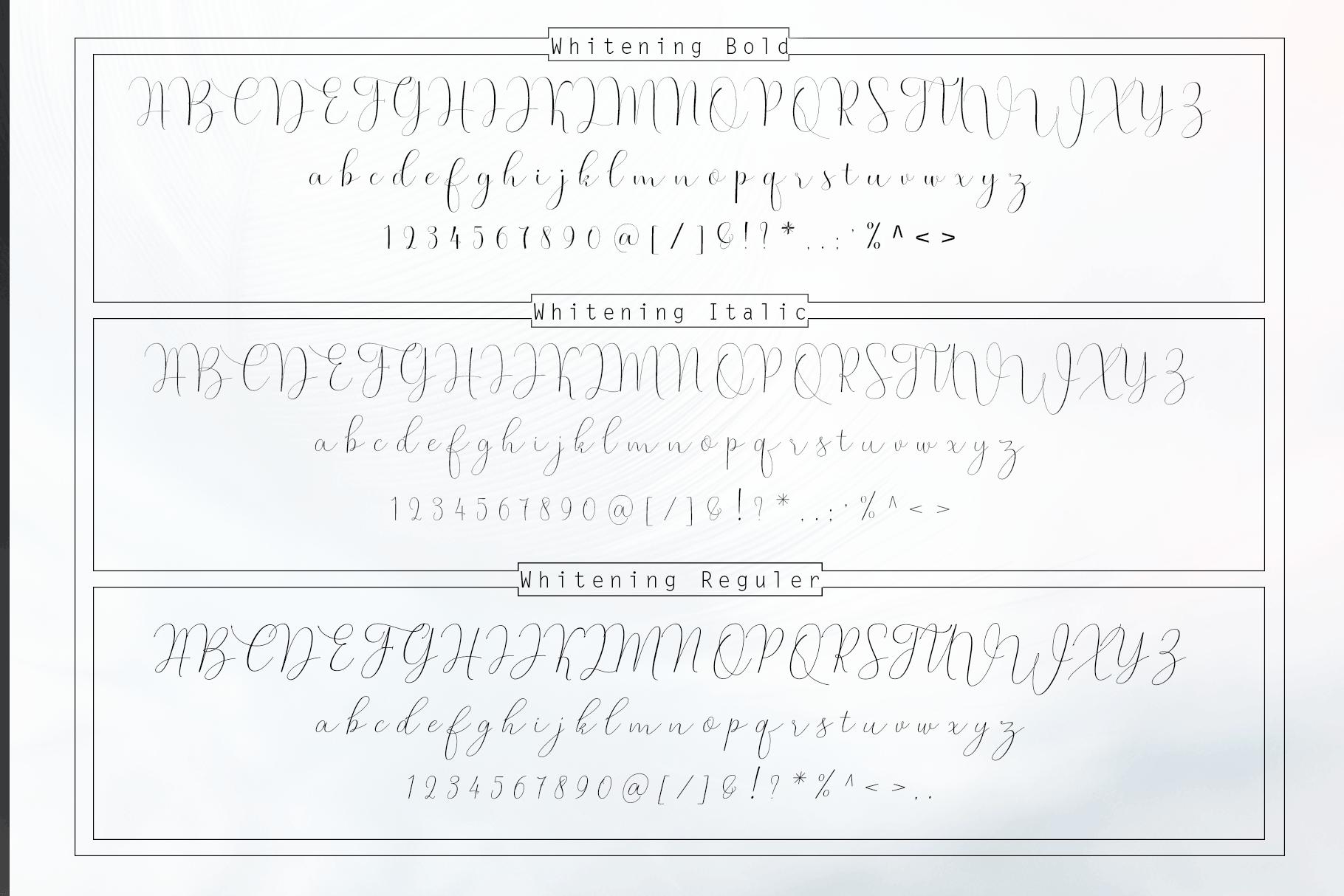 Whitening Font family example image 10