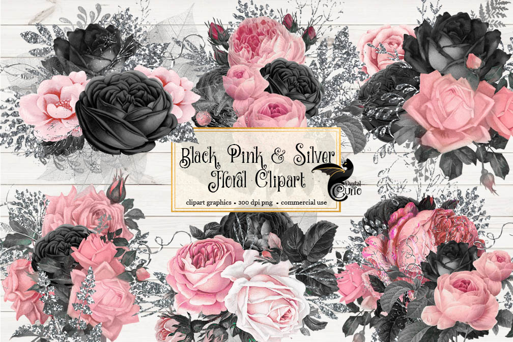 Black Pink and Silver Floral Clipart example image 1