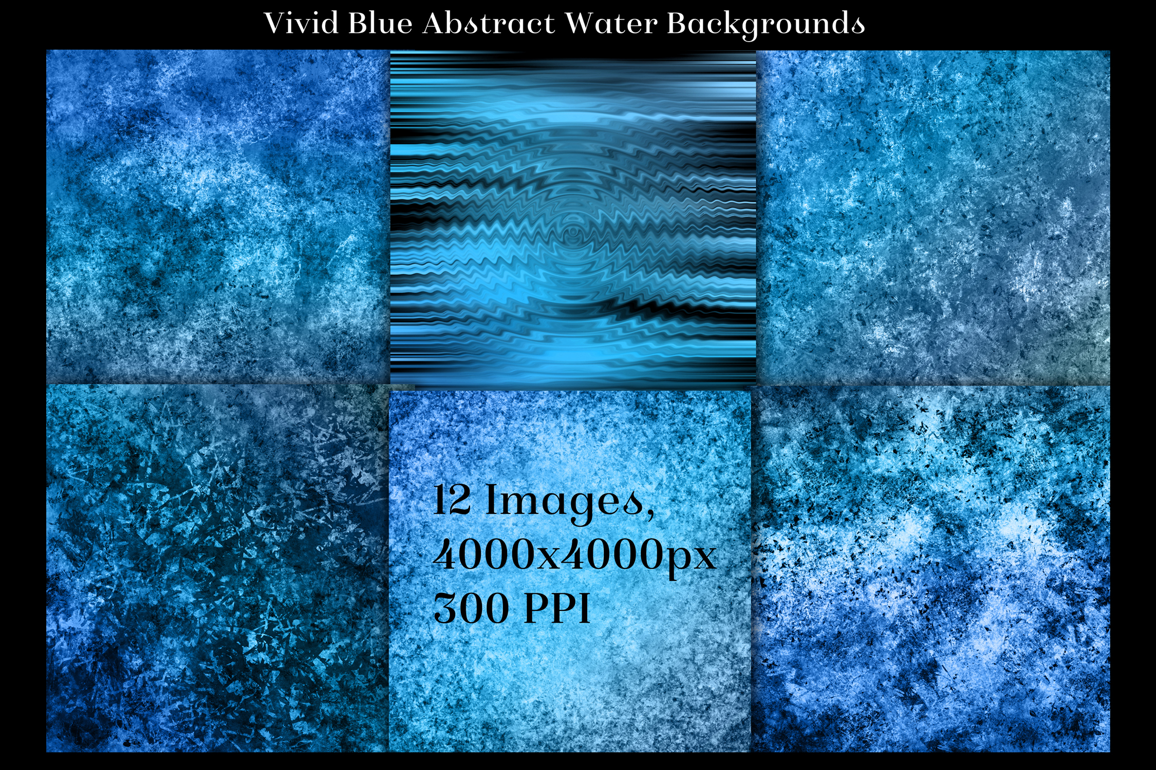 Vivid Blue Abstract Water Backgrounds - 12 Image Textures example image 2