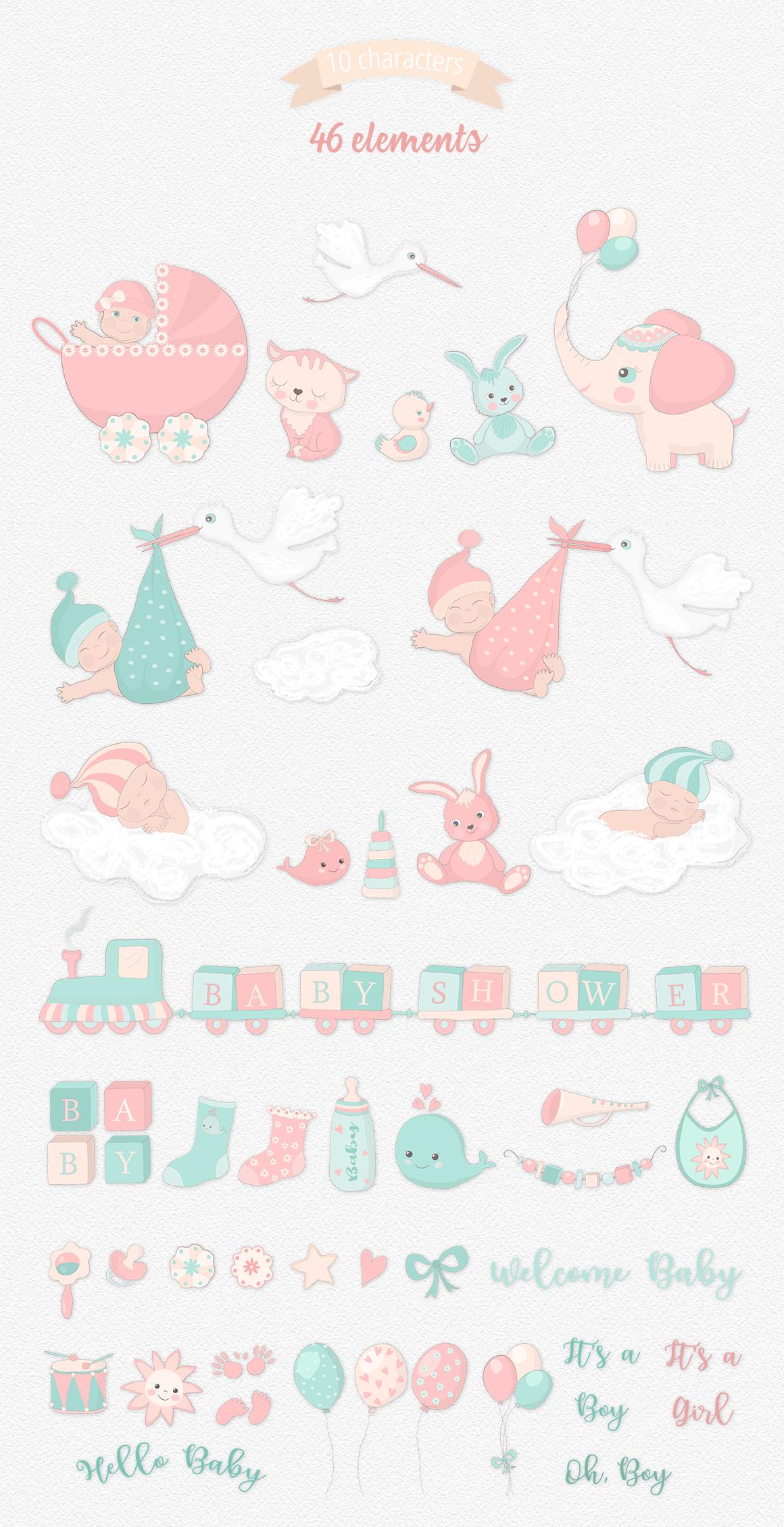Baby Shower Illustration Set example image 6