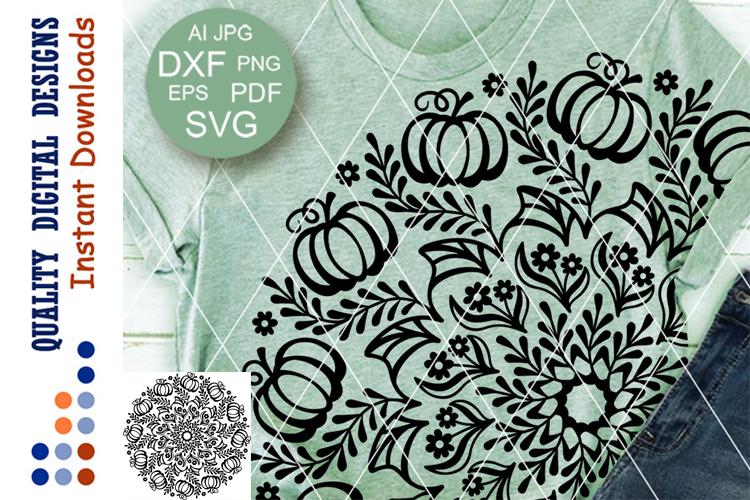 Thanksgiving Mandala Pumpkin clipart SVG files for Cricut example image 1
