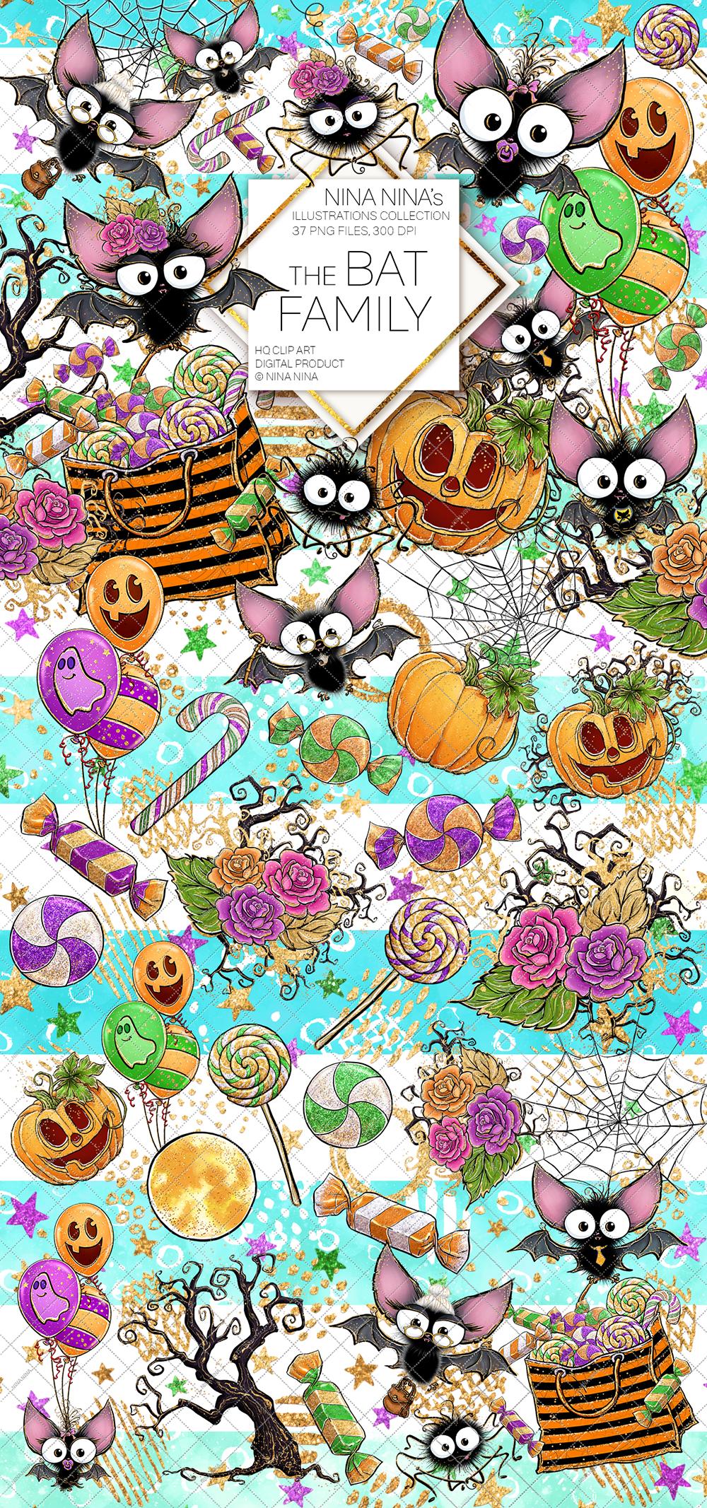 Cute Halloween Clipart, Bats Clip Art PNG Pack example image 2