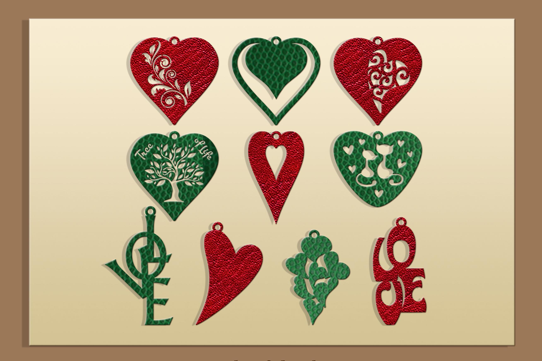 50 Leather earring bundle svg Valentine Love svg Heart example image 5