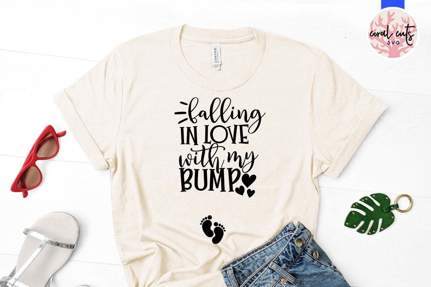Falling in the love with my bump - Pregnant Mother SVG example image 2