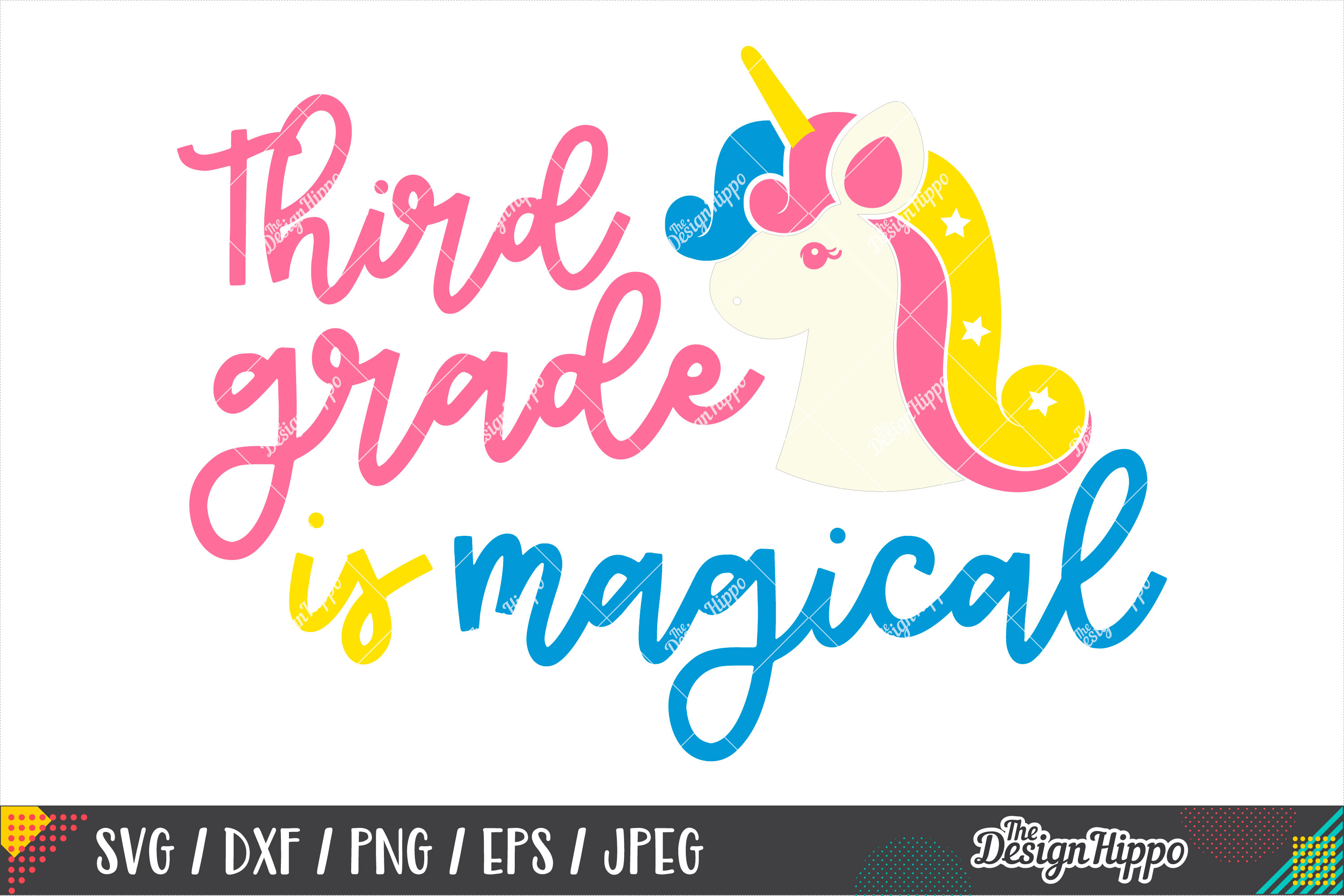 Third Grade Is Magical, Back To School SVG DXF PNG Cut Files example image 2