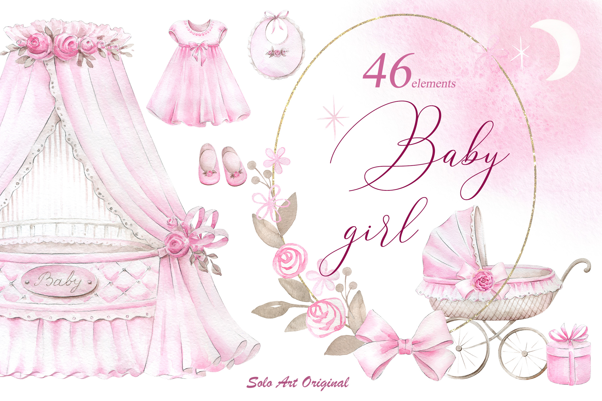 Newborn Baby Girl Clipart Set