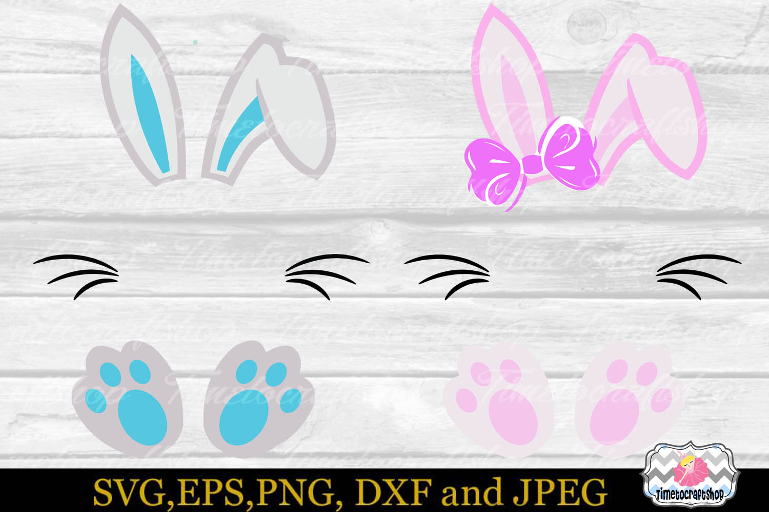 SVG, Dxf, Eps & Png Easter Bunny Monogram example image 2
