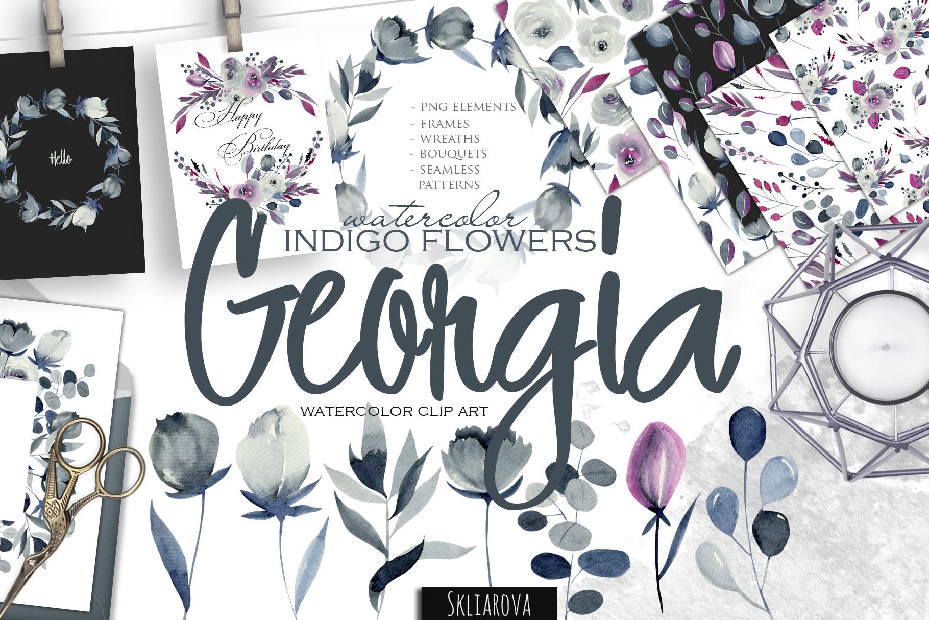 Georgia. Indigo flowers. example image 1