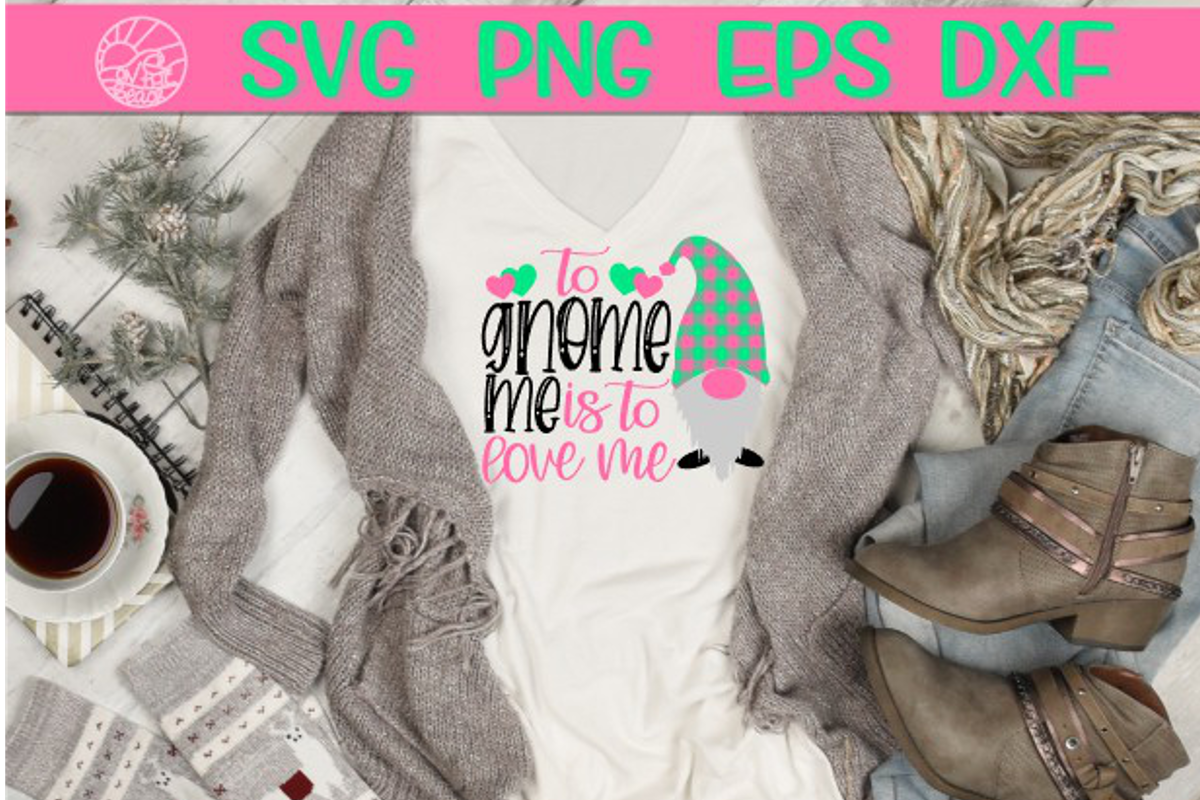 Gnome Me - Love Me - Valentine's Day - Heart - SVG PNG EPS D example image 1