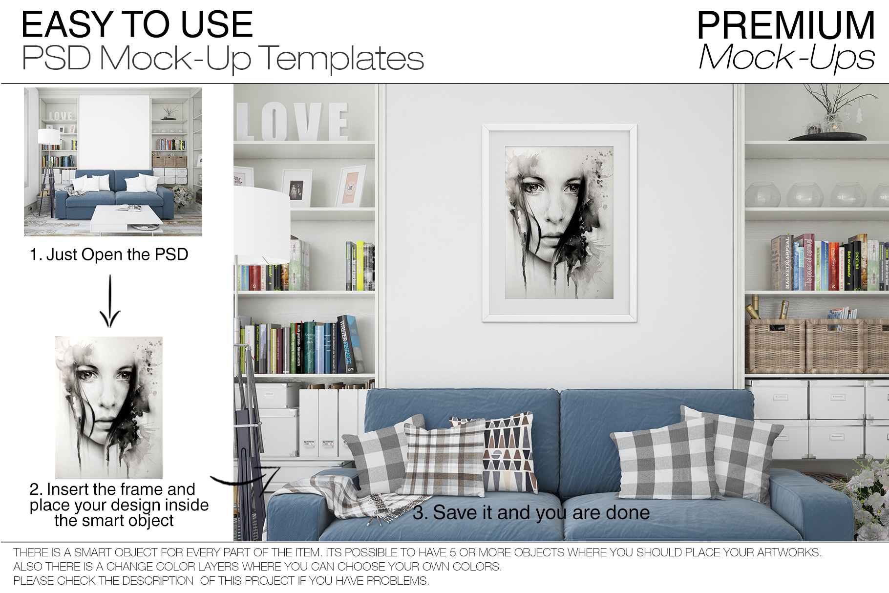 Pillows & Frames Mockup Set example image 7
