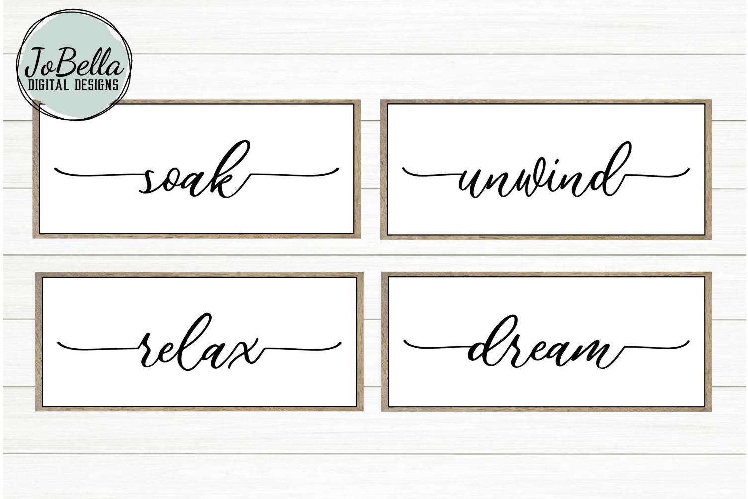 Soak Unwind Relax Dream Bathroom SVG and Printable Designs example image 1