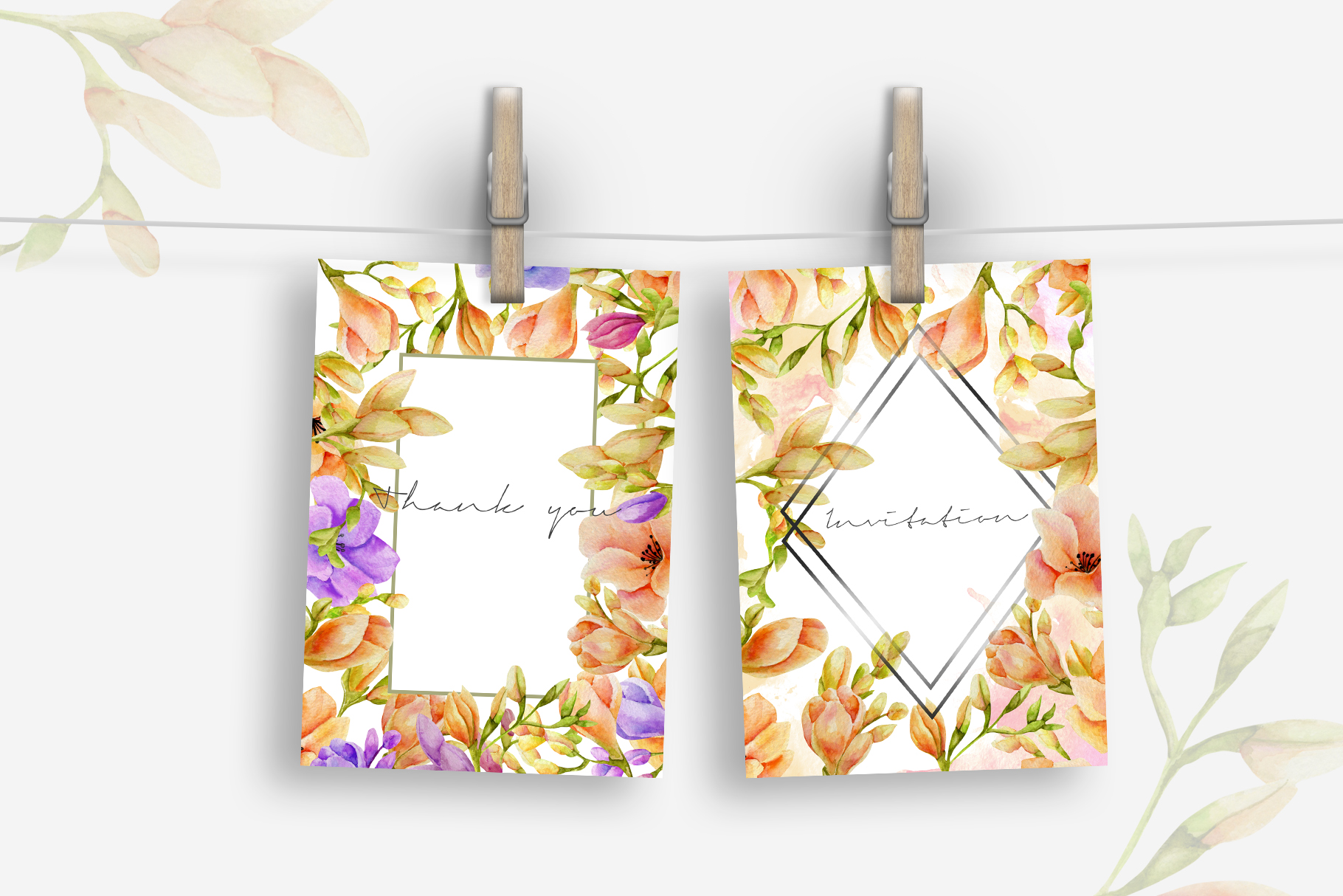 Freesia. Elements & cards example image 4