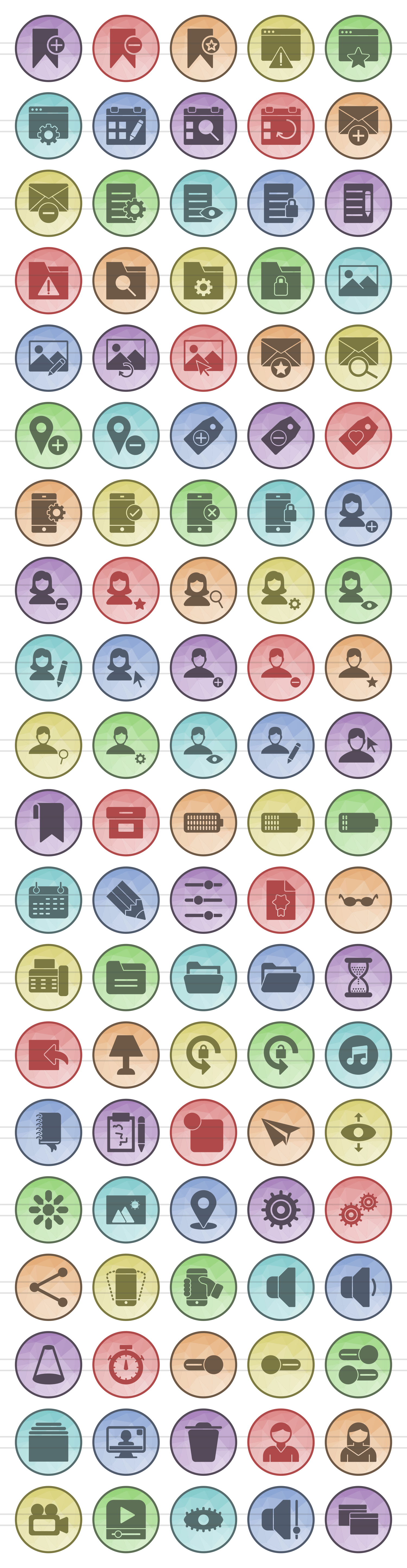 100 App & Web Interface Filled Low Poly Icons example image 2