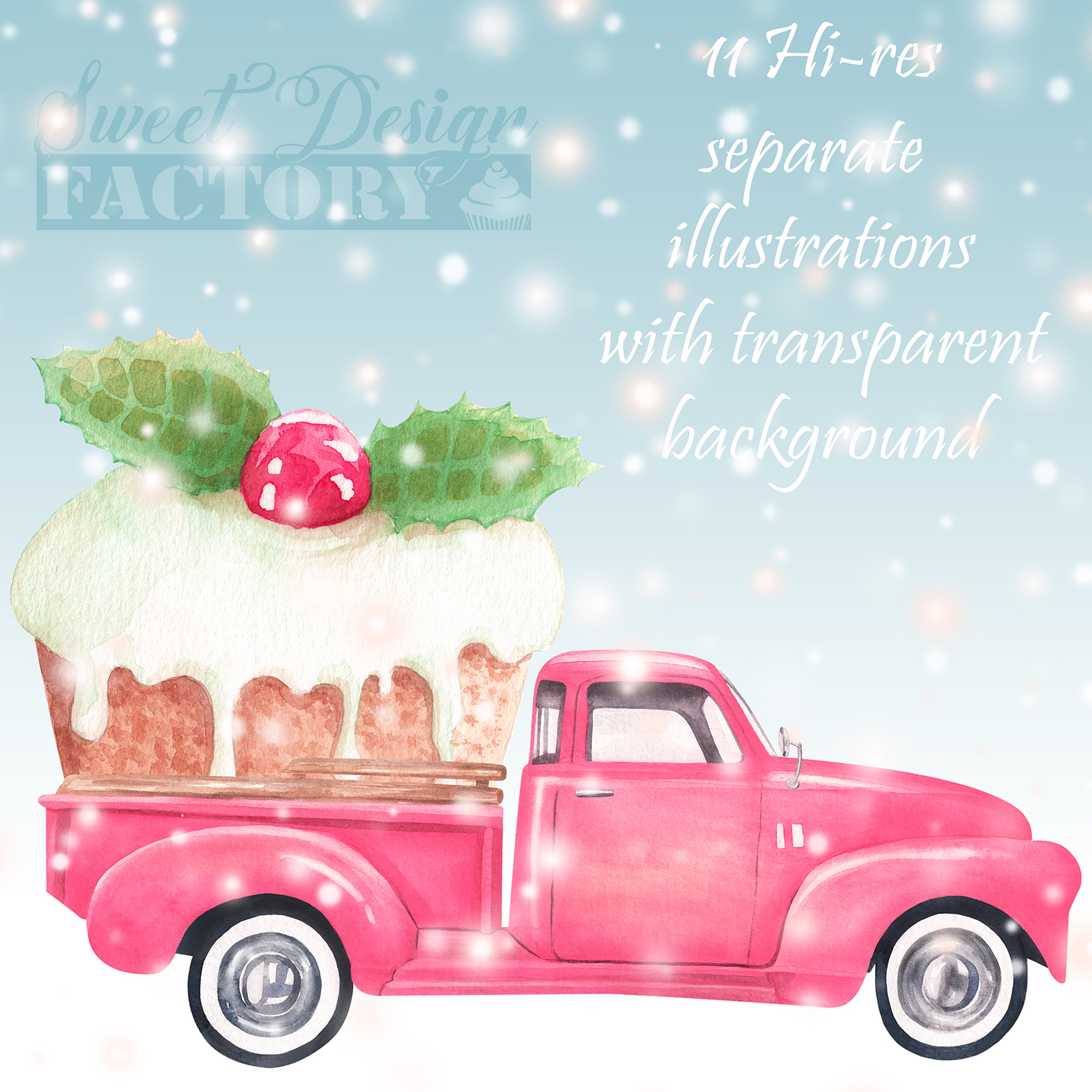 Watercolor Christmas pink pick-up cliparts example image 7