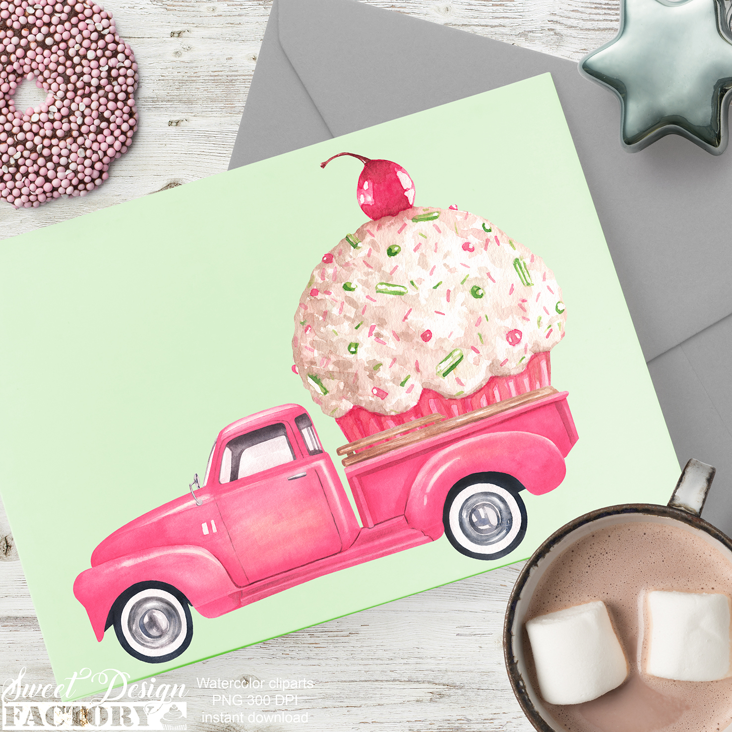 Watercolor Christmas pink pick-up cliparts example image 6