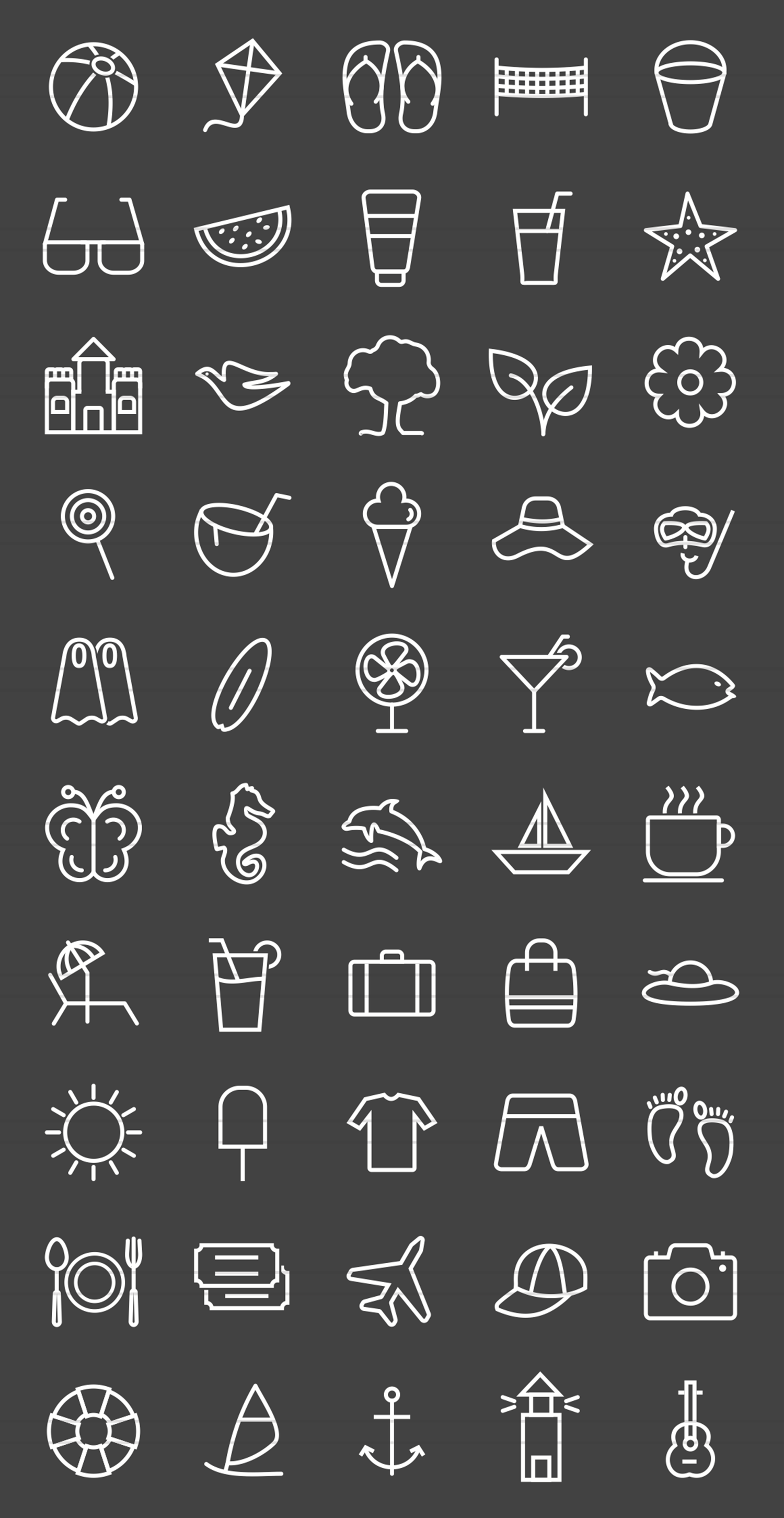50 Summer Line Inverted Icons example image 2