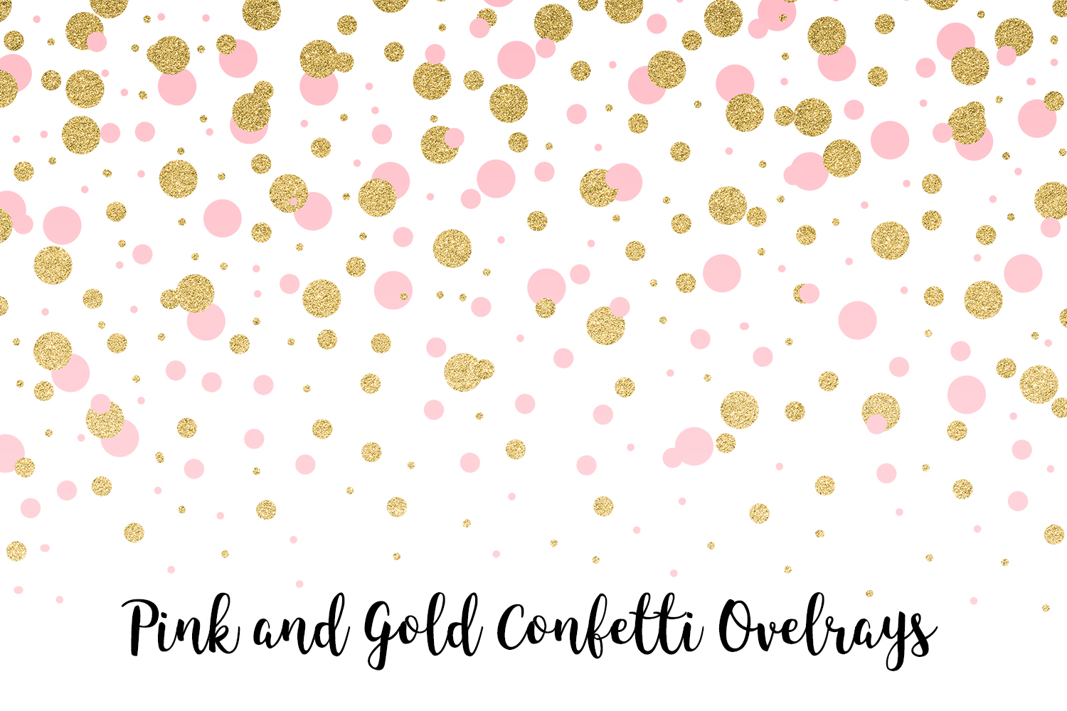 Pink and Gold Confetti Overlays, Transparent PNGs example image 8