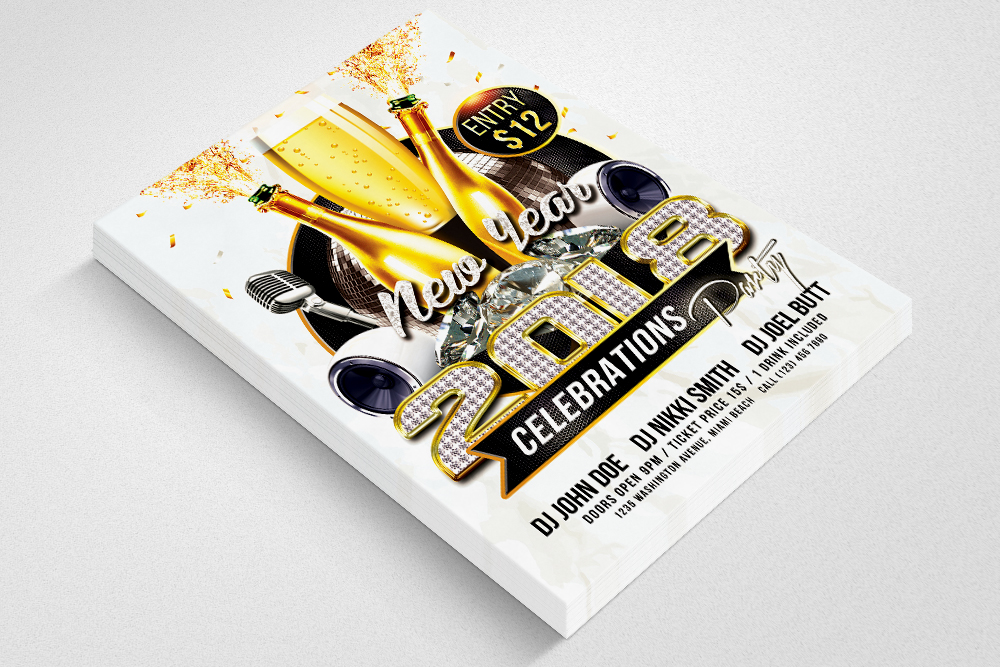 Happy New Year Flyer Templates example image 3